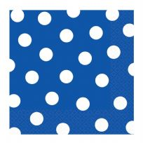 Royal Blue Dots Luncheon Napkins (16)